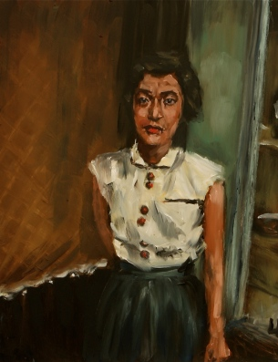 """The Waitress, Otsu City / oil on panel / 11""""x14"""" / Sold"""