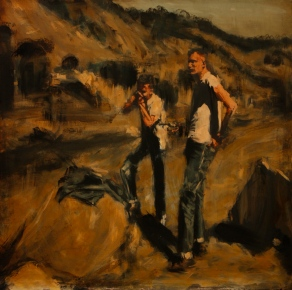 "The Shooting Party / oil on panel / 22""x22"" / Sold"