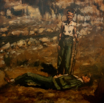 "The Shooting Party II / oil on panel / 22""x22"" / Sold"