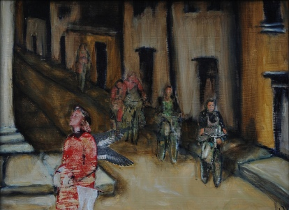 Crossing Guard / Mixed Media on Panel